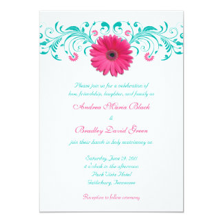 Pink Gerbera Daisy Turquoise Floral Wedding Card
