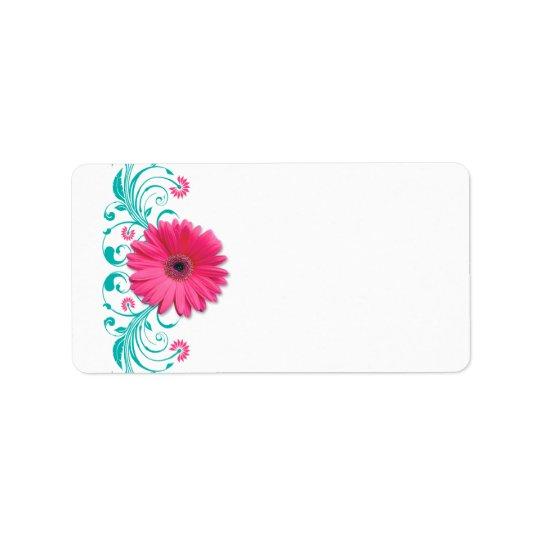 Pink Gerbera Daisy Turquoise Wedding Blank Address Label