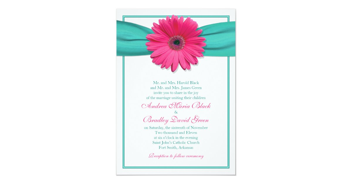 Turquoise And Pink Wedding Invitations: Pink Gerbera Daisy Turquoise Wedding Invitation