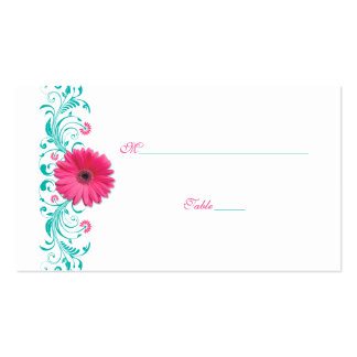 Pink Gerbera Daisy Turquoise Wedding Place Card Pack Of Standard Business Cards