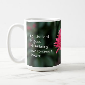 Pink Gerbera Daisy w/ Scripture Verse Basic White Mug