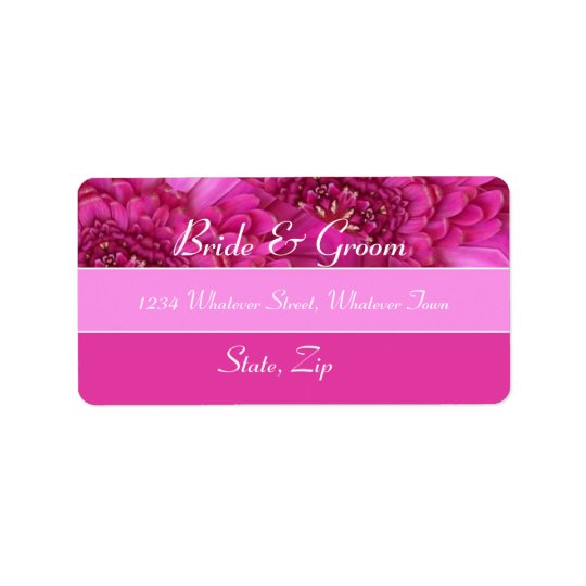 Pink Gerbera Daisy Wedding Address Label