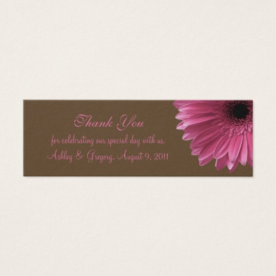 Pink Gerbera Daisy Wedding Favour Tag