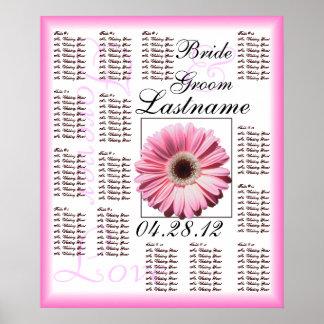 Pink Gerbera Daisy Wedding Guest Seating Chart Poster