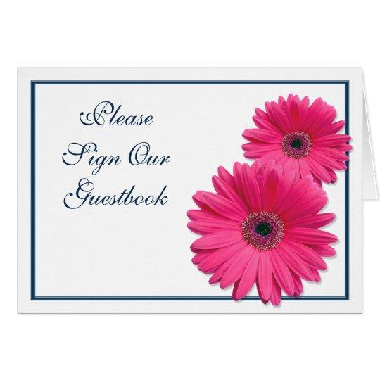Hot Pink Gerbera Daisy White Wedding Invitation 5 X 7: Pink Gerbera Daisy Wedding Guestbook Sign Card