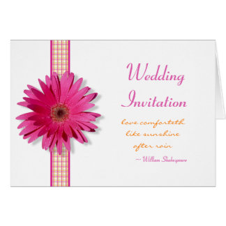 Pink Gerbera Daisy Wedding Invitation Card