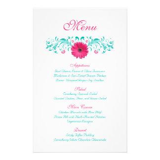 Pink Gerbera Daisy Wedding Menu Card 14 Cm X 21.5 Cm Flyer