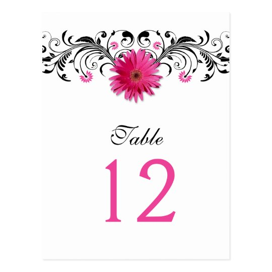 Pink Gerbera Daisy Wedding Table Number Card