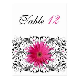 Pink Gerbera Daisy Wedding Table Number Card Postcards