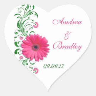 Pink Gerbera Green Floral Wedding Envelope Seal