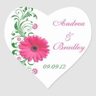 Pink Gerbera Green Floral Wedding Envelope Seal Heart Sticker