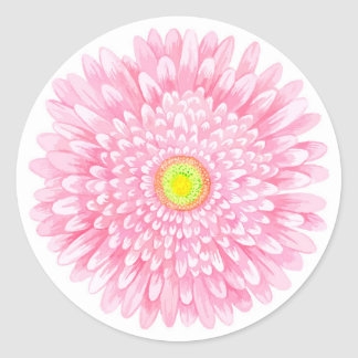 Pink Gerbera Large Glossy Round Sticker
