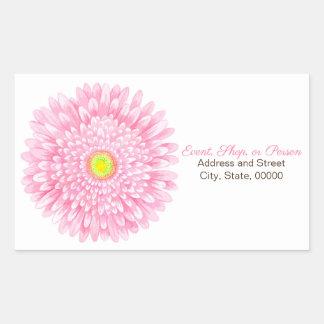 Pink Gerbera Large Rectangle Address Seal