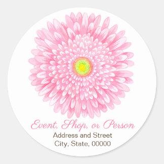 Pink Gerbera Large Round Address Seal