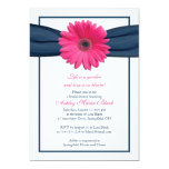 Pink Gerbera Navy Ribbon Bridal Shower Invitation 13 Cm X 18 Cm Invitation Card