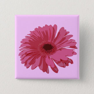 Pink Gerbera on Pink 15 Cm Square Badge
