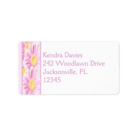 Pink Gerbera on White Return Address Label