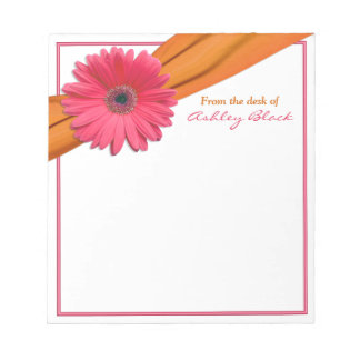 Pink Gerbera Orange Ribbon Personalized Notepad