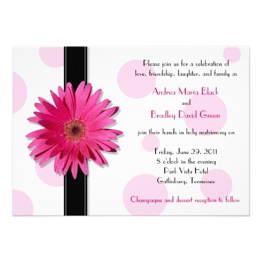 Pink Gerbera Polka Dot Wedding Invitation