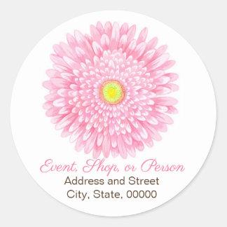 Pink Gerbera Round Address Seal