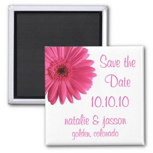 Pink Gerbera Save the Date Fridge Magnets