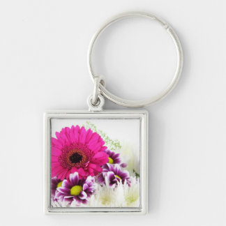 Pink Gerbera Silver-Colored Square Key Ring