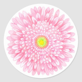 Pink Gerbera Small Round Glossy Sticker