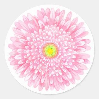 Pink Gerbera Small Round Matte Sticker