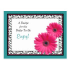 Pink Gerbera Teal Recipe Card for the Bride to Be