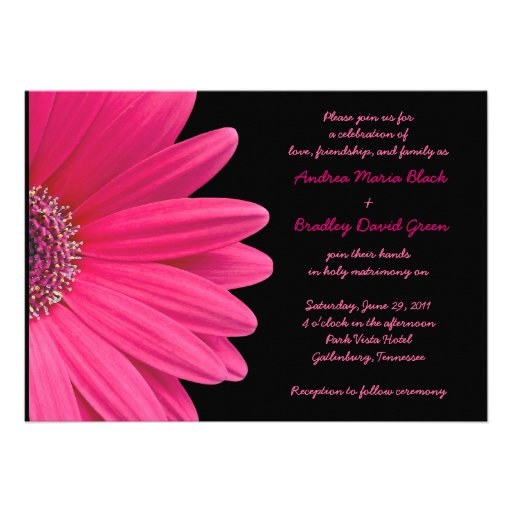 Pink Gerbera Wedding Invitation - Pink and Black