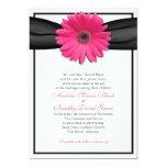 Pink Gerbera with Black Ribbon Invitation 13 Cm X 18 Cm Invitation Card