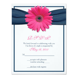 Pink Gerbera with Navy Ribbon Response Card 11 Cm X 14 Cm Invitation Card