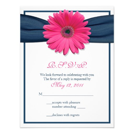 Pink Gerbera with Navy Ribbon Response Card Personalized Invites