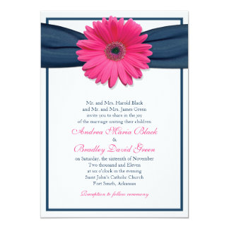 Pink Gerbera with Navy Ribbon Wedding Invitation
