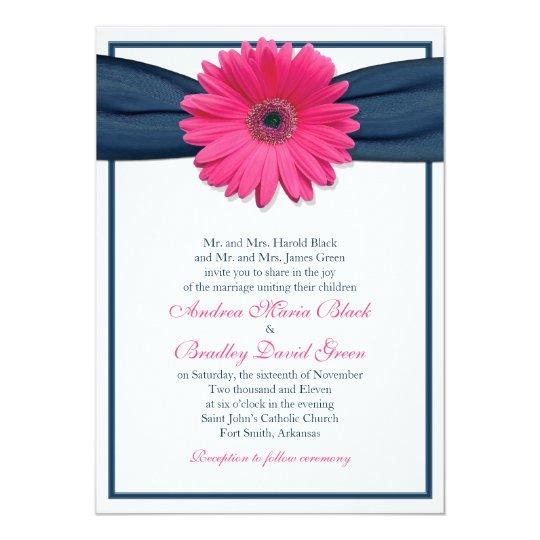 Hot Pink Gerbera Daisy White Wedding Invitation 5 X 7: Pink Gerbera With Navy Ribbon Wedding Invitation