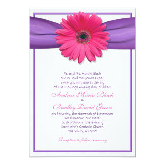 Pink Gerbera with Purple Satin Ribbon Invitation