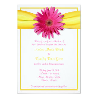 Pink Gerbera with Yellow Ribbon Invitation