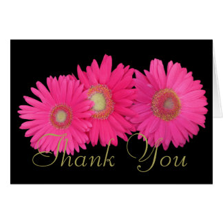 Pink Gerberas Colorful Photo Chic Floral Thank You Card