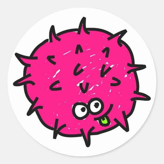 Pink Germ Classic Round Sticker