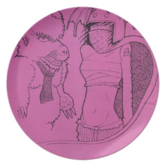 Pink Ghost Girl and Angry Bear Party Plate