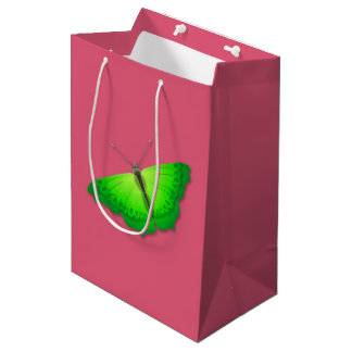 Pink Gift Bag with Green Butterfly
