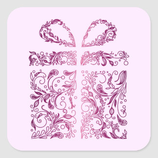 pink gift square sticker
