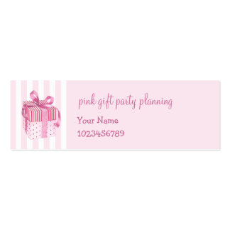 Pink Gift stripes skinny Business Card