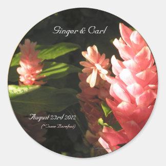 Pink Ginger Tropical Flowers Envelope Seals
