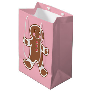Pink Gingerbread Christmas Gift Bag