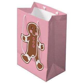 Pink Gingerbread Christmas Gift Bag Medium Gift Bag