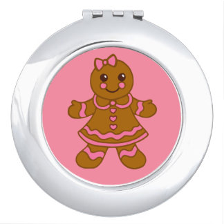 Pink Gingerbread Girl Compact Mirror