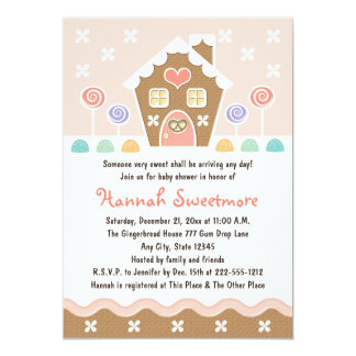 PINK GINGERBREAD HOUSE BABY SHOWER CARD
