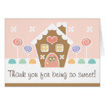 PINK GINGERBREAD HOUSE  BABY SHOWER THANK YOU NOTE CARD