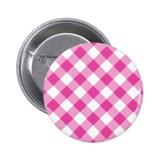 Pink Gingham 6 Cm Round Badge